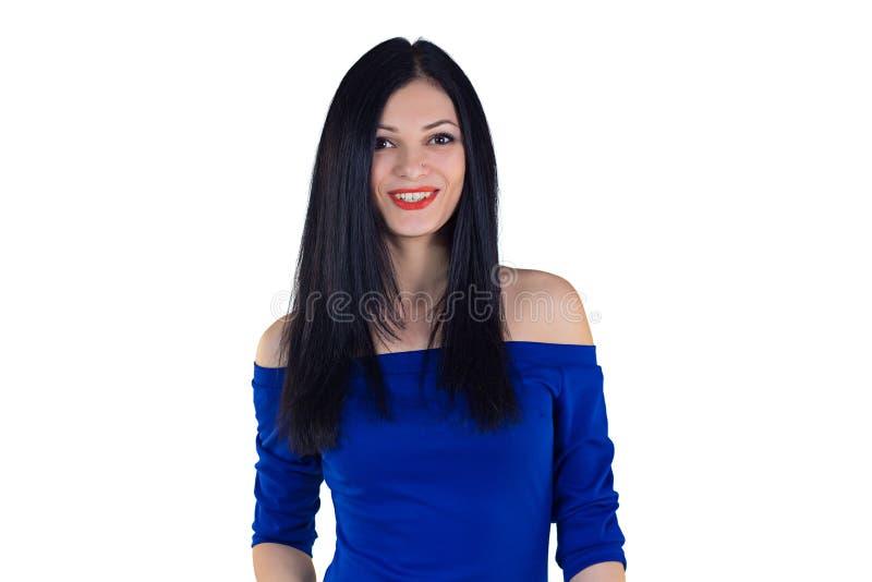 Muchacha en vestido azul imagenes de archivo