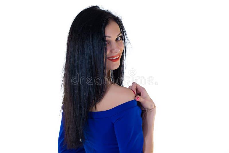 Muchacha en vestido azul fotos de archivo