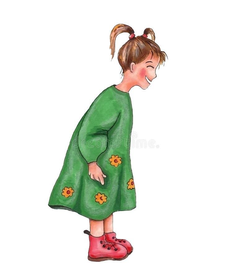 Muchacha en vestido verde ilustración del vector