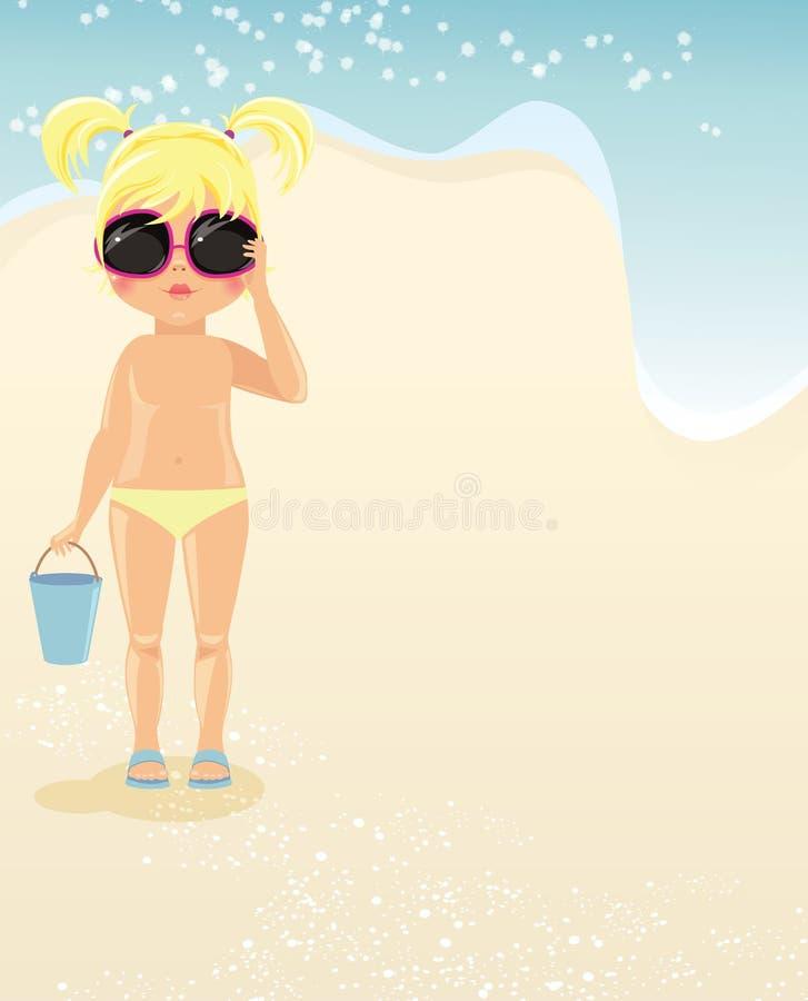 Muchacha en vidrios en la playa stock de ilustración