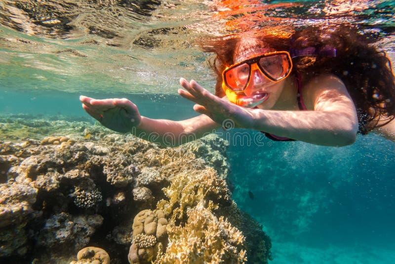 Muchacha en zambullida de la máscara de la natación en el Mar Rojo cerca del arrecife de coral fotografía de archivo libre de regalías
