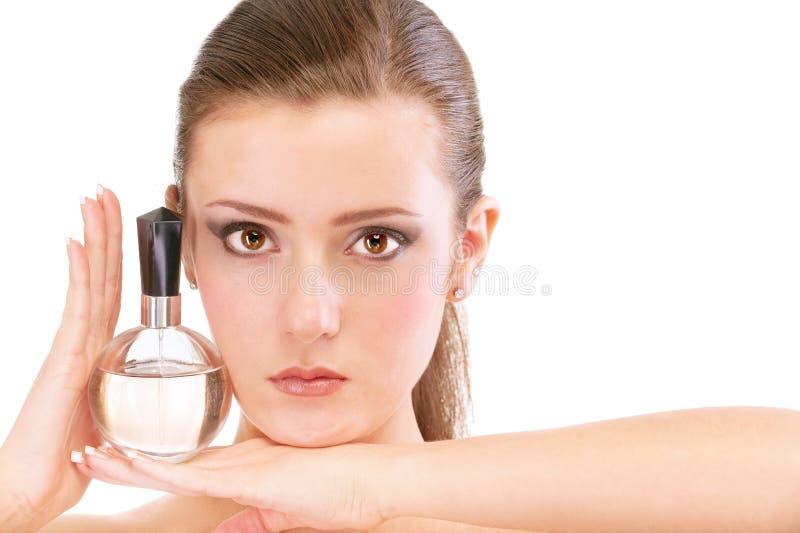 Muchacha encantadora con cierre del perfume para arriba imagen de archivo libre de regalías