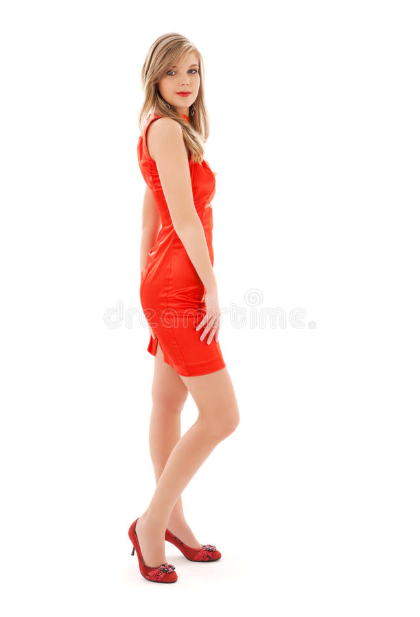 Muchacha encantadora en alineada roja foto de archivo libre de regalías