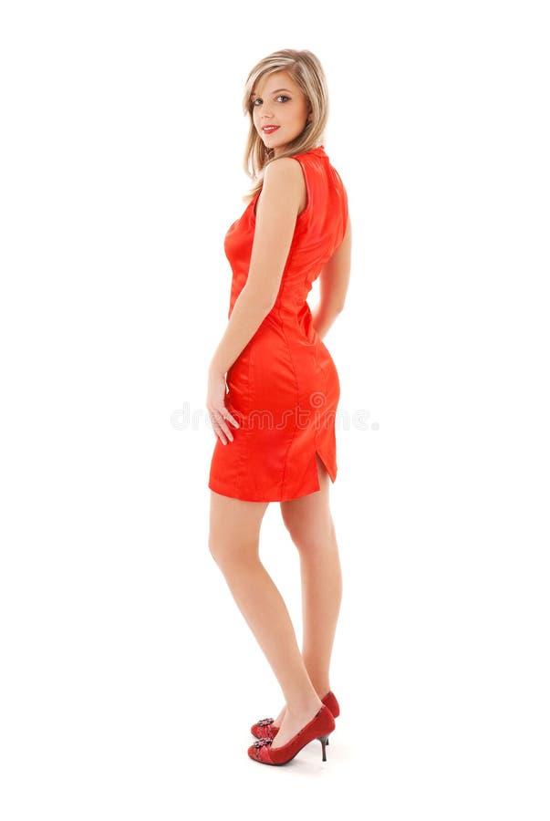 Muchacha encantadora en alineada roja fotos de archivo libres de regalías