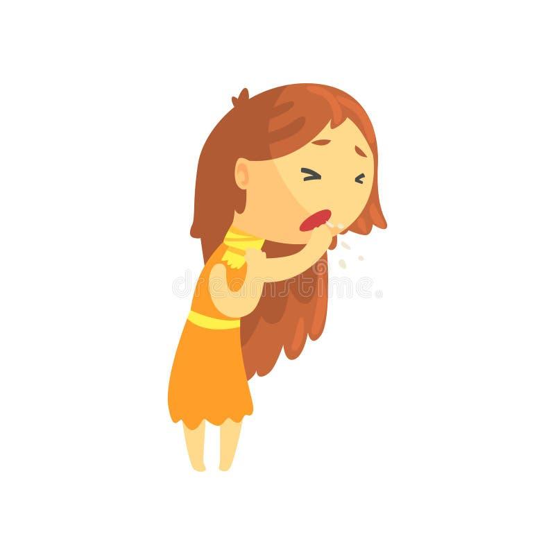 Muchacha enferma con el pelo largo que tose, ejemplo médico de necesidad adolescente mal del vector del personaje de dibujos anim stock de ilustración