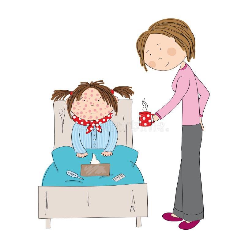 Muchacha enferma con varicela, el sarampión, el rubeola o la erupción de piel ilustración del vector