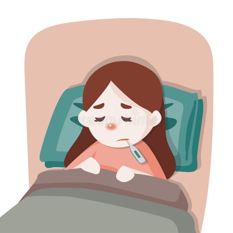 Muchacha enferma del niño que miente en cama con un termómetro en boca y sensación tan mala con la fiebre, ejemplo de la historie ilustración del vector