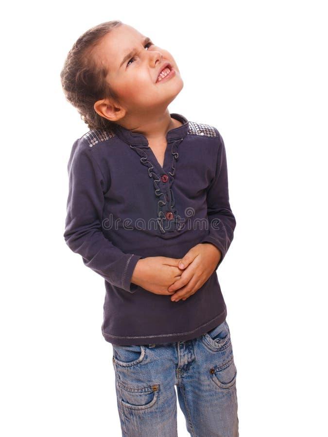 Muchacha enferma del pequeño niño de la mujer en estómago del dolor, imagen de archivo libre de regalías