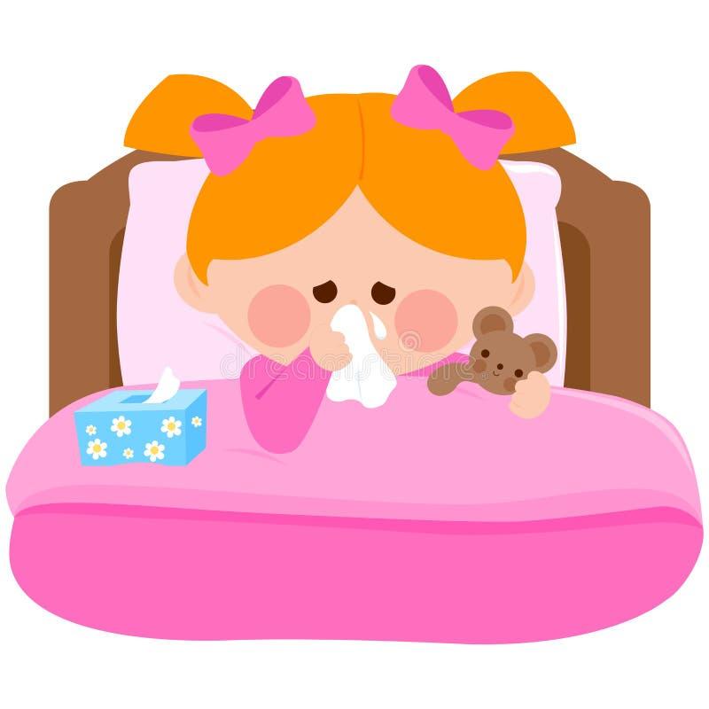 Muchacha enferma en la cama que sopla su nariz ilustración del vector