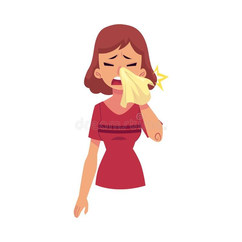 Muchacha enferma plana del vector que sufre de rinitis stock de ilustración