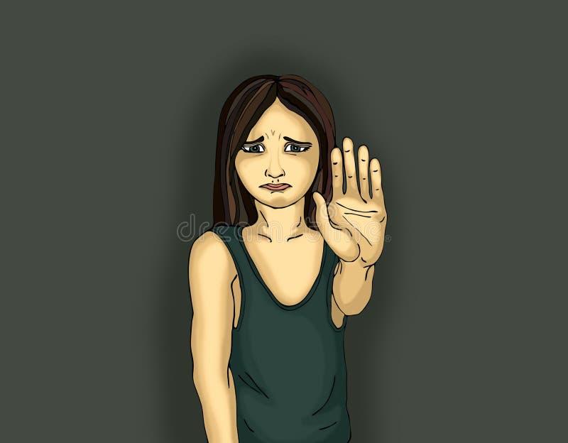 Muchacha enojada e infeliz que muestra a muestra de la mano bastantes Contra violencia libre illustration