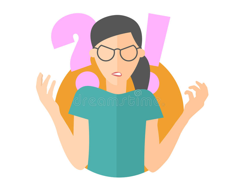 Muchacha enojada en vidrios Mujer en rabia Icono plano del diseño Ejemplo aislado simplemente editable del vector ilustración del vector