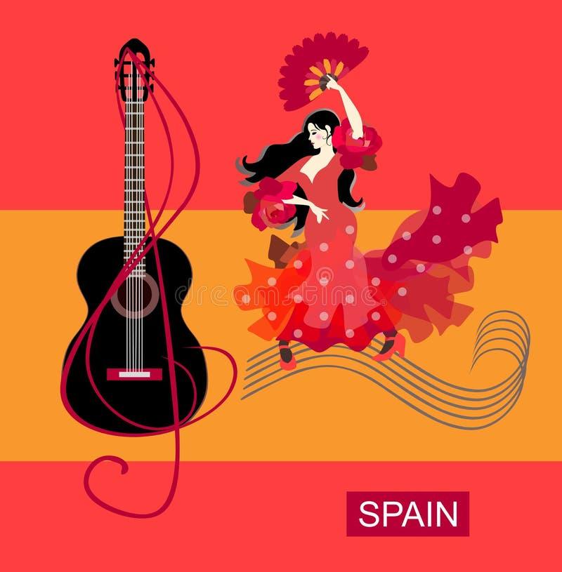 Muchacha española con la fan en sus manos, vestidas en vestido rojo, paseos a lo largo de reglas musicales y flamenco de las danz stock de ilustración