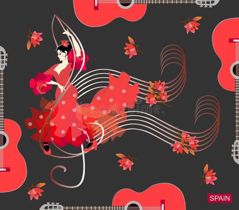 Muchacha española en vestido del lunar del vintage con los volantes en las mangas en la forma de rosas, y con la flor roja en pel ilustración del vector