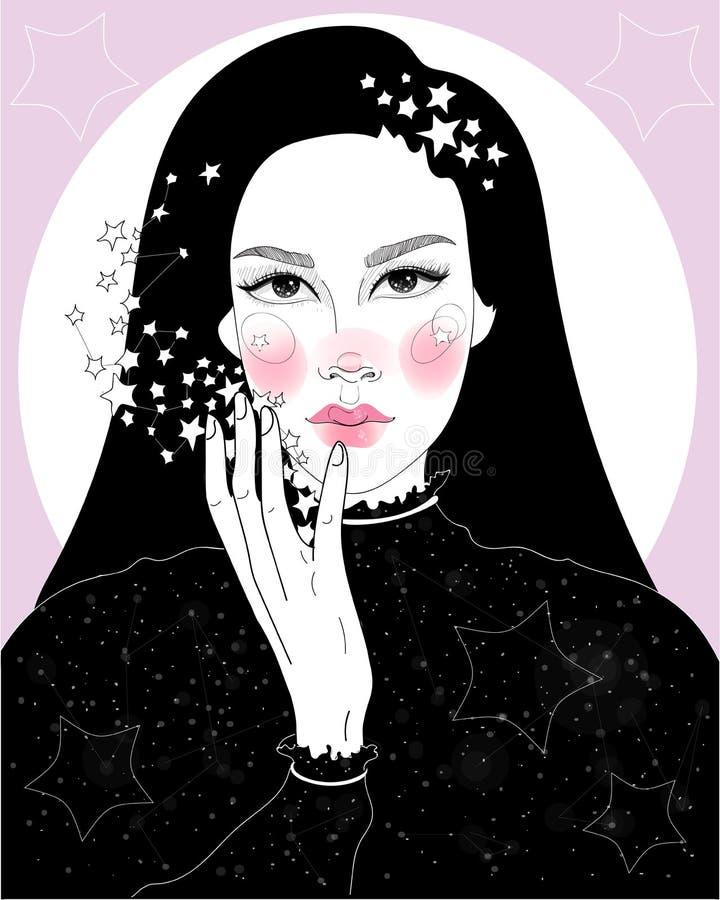 muchacha estrellada ilustración del vector