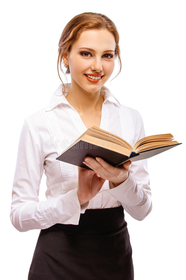 Muchacha-estudiante encantador con el libro fotos de archivo libres de regalías