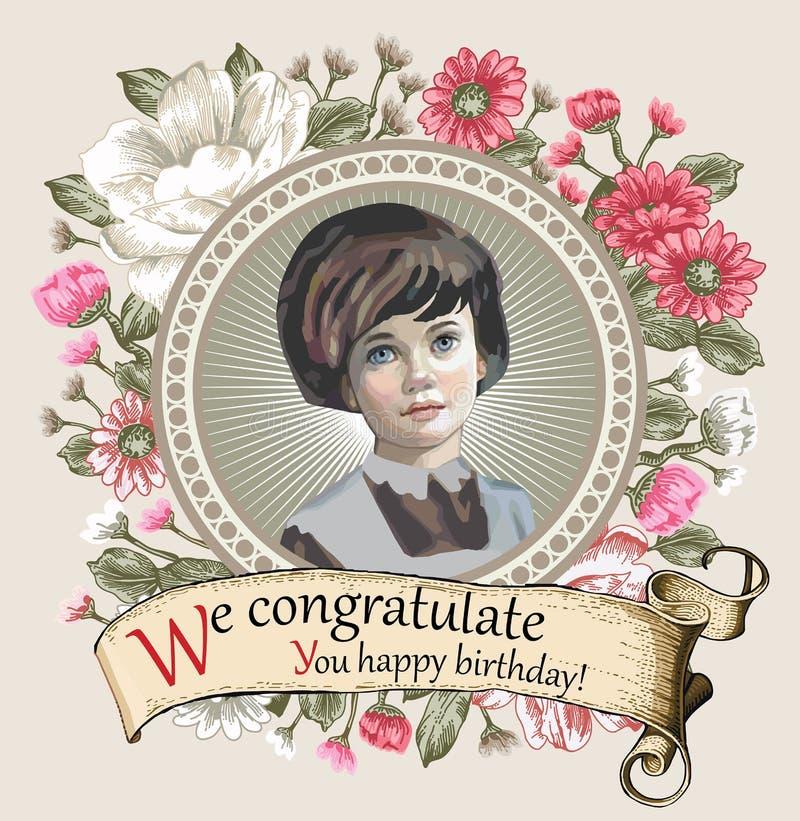 Muchacha, falta Retrato Mujer Flores del marco de la invitación Flores de la tarjeta del vintage Ejemplo del vector de la manzani stock de ilustración