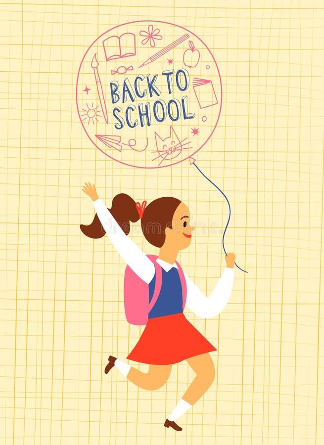 Muchacha feliz con el globo que funciona con o a la escuela stock de ilustración