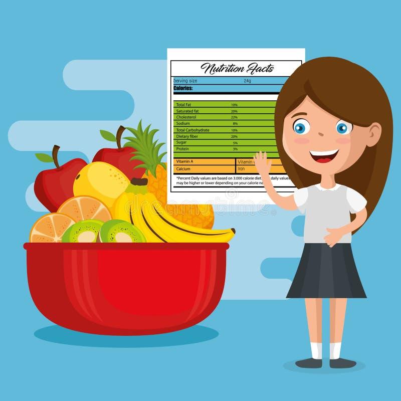 Muchacha feliz con hechos de la nutrición stock de ilustración