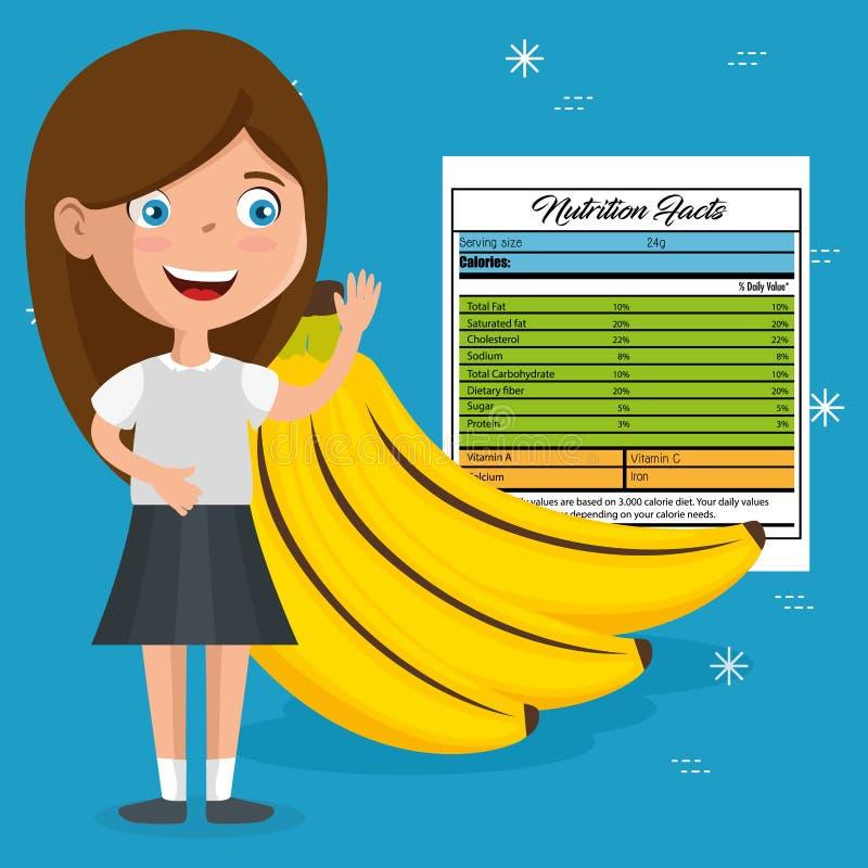 Muchacha feliz con hechos de la nutrición ilustración del vector