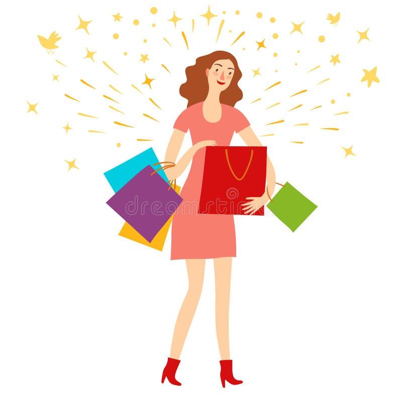 Muchacha feliz con los bolsos de compras libre illustration
