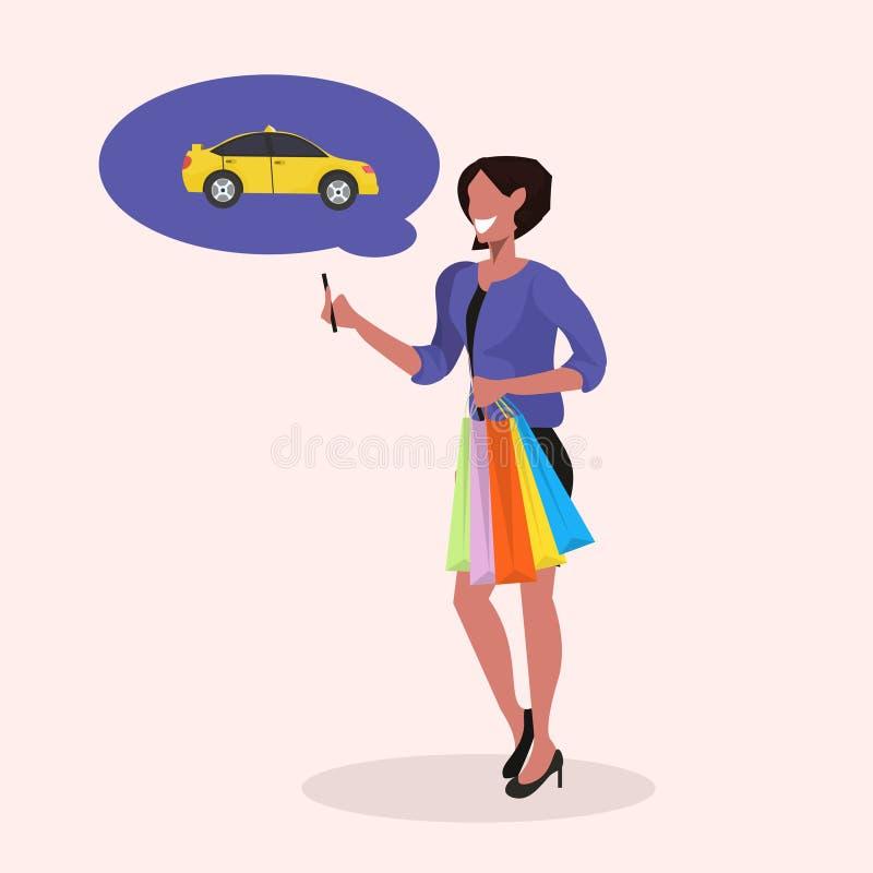 Muchacha feliz con los bolsos de compras usando la aplicación móvil para llamar al afroamericano del taxi personaje de dibujos an stock de ilustración