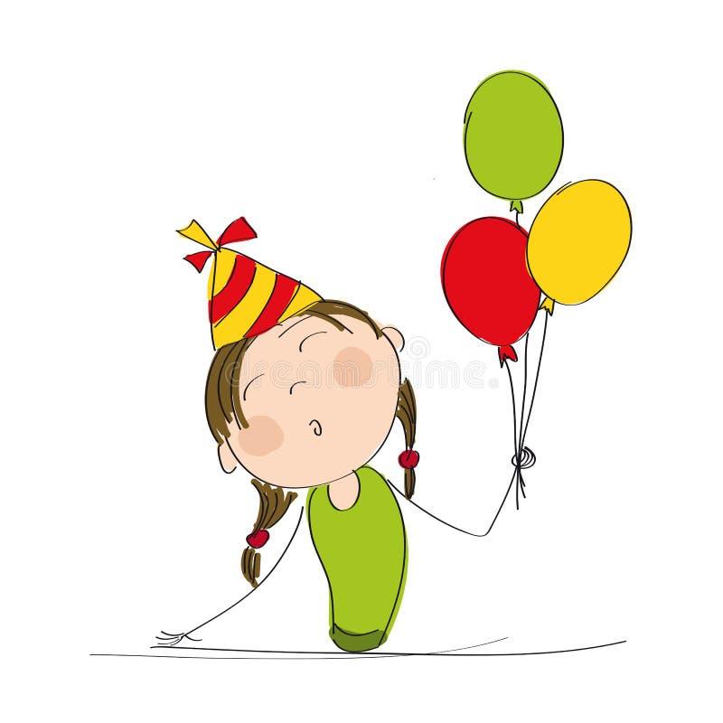 Muchacha feliz con los globos y el sombrero coloridos del partido stock de ilustración