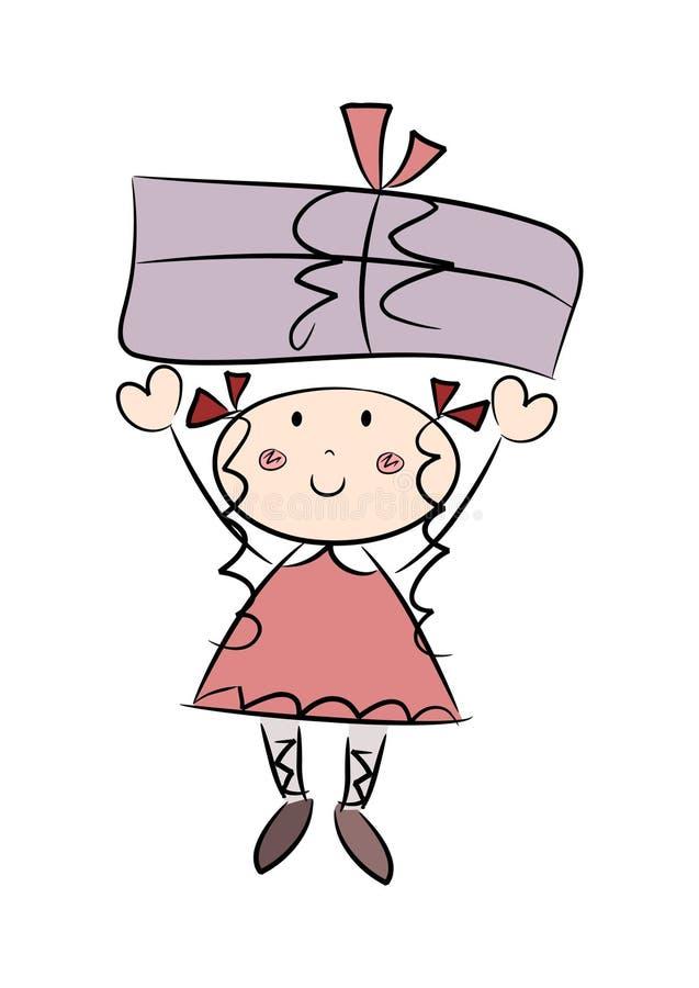Muchacha feliz con un regalo ilustración del vector