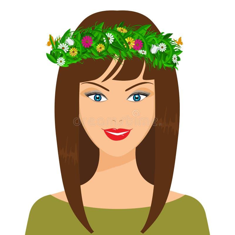 Muchacha feliz de la primavera del vector Floweres, hojas y mariposa en el pelo ilustración del vector