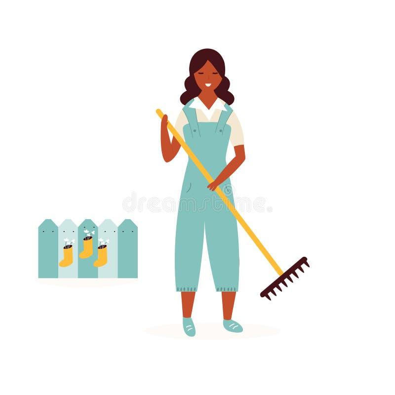 Muchacha feliz del granjero con el jardín de la limpieza del rastrillo ilustración del vector
