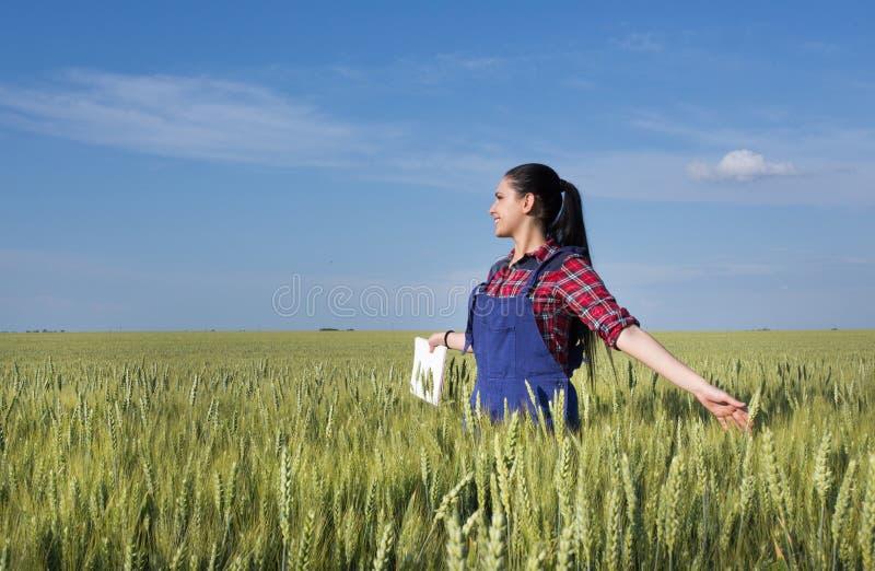 Muchacha feliz del granjero en campo de trigo imagenes de archivo