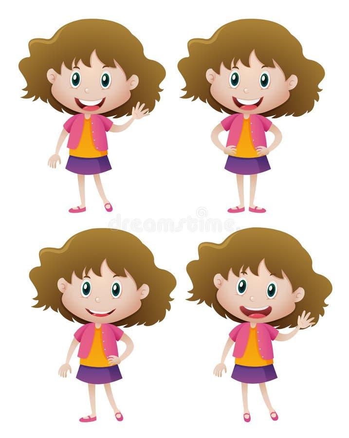 Muchacha feliz en cuatro acciones libre illustration