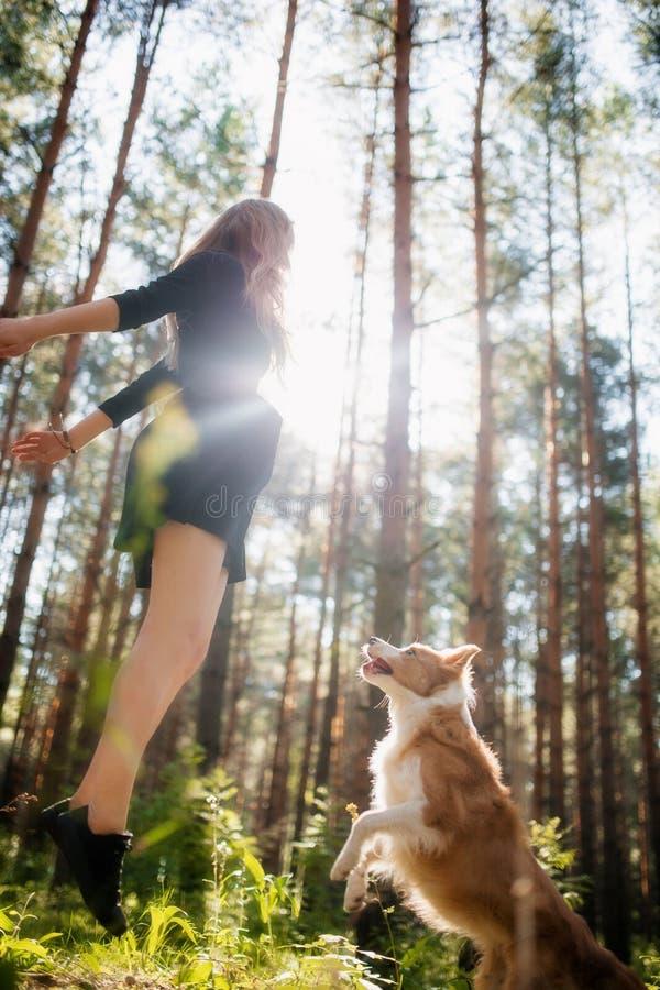 Muchacha feliz en el parque con su perro que salta y que juega fotografía de archivo