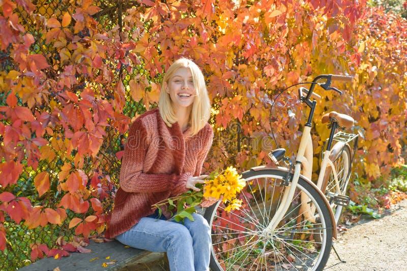 Muchacha feliz en paseo del oto?o Autumn Woman hermoso con Autumn Leaves en fondo de la naturaleza de la ca?da Muchacha soñadora  imagenes de archivo