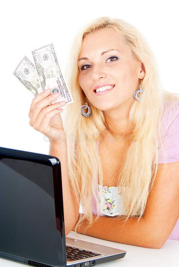 Muchacha feliz ganada el dinero imagen de archivo