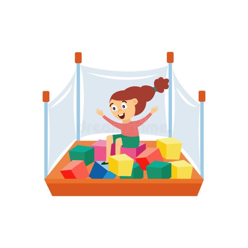 Muchacha feliz juega en playpen con cubos planos ilustración vectorial aislada libre illustration