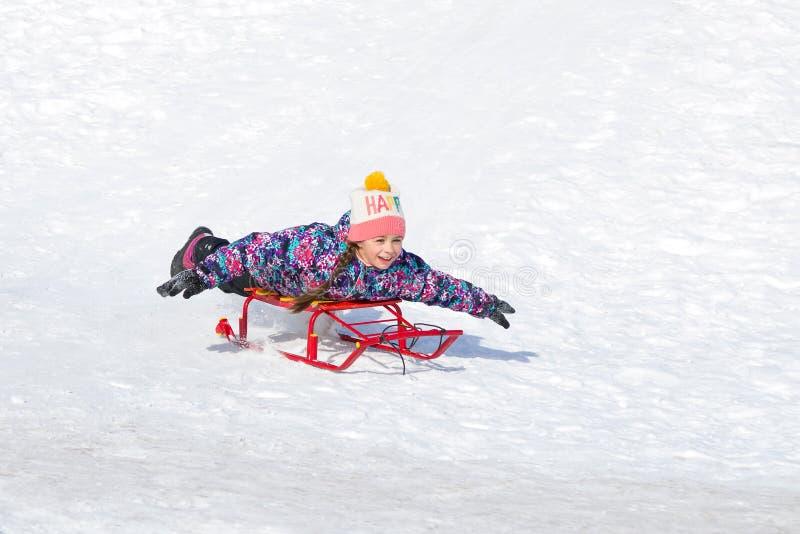 Muchacha feliz linda en un trineo que resbala abajo de una colina en nieve imagenes de archivo