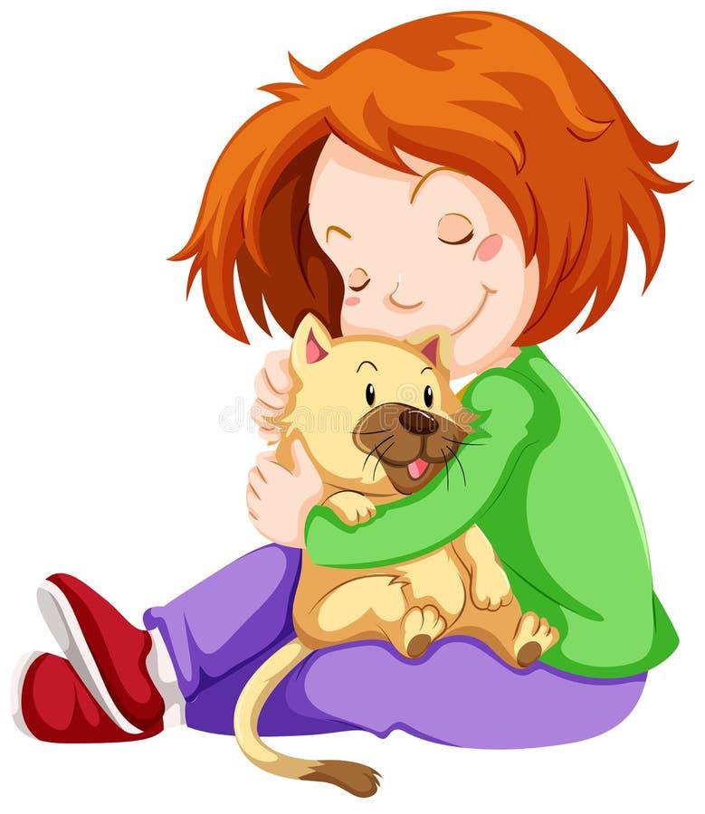 Muchacha feliz que abraza el gato del animal doméstico ilustración del vector