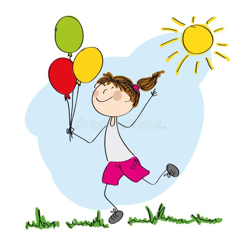 Muchacha feliz que funciona con y que sostiene los globos coloridos stock de ilustración
