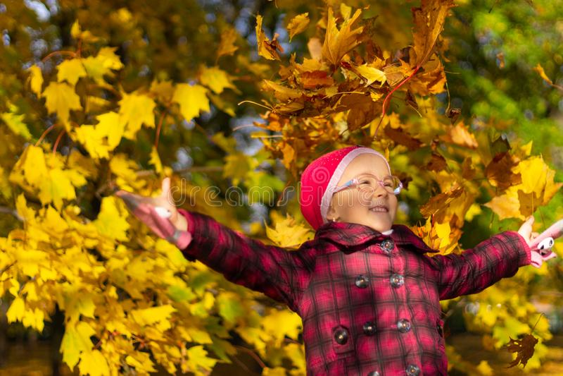 Muchacha feliz que juega con las hojas caidas en parque del otoño fotografía de archivo