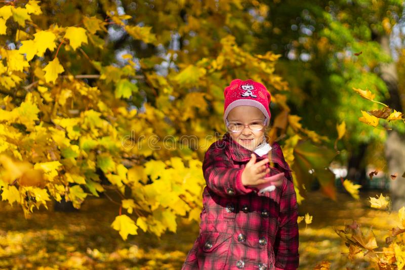 Muchacha feliz que juega con las hojas caidas en parque del otoño fotos de archivo libres de regalías