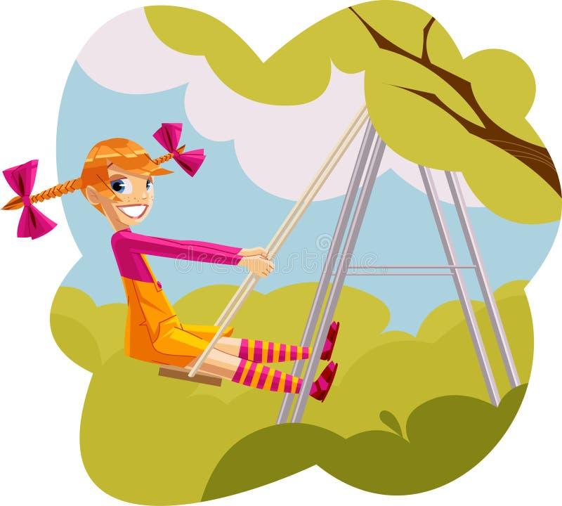 Muchacha feliz que juega en un swingset imágenes de archivo libres de regalías