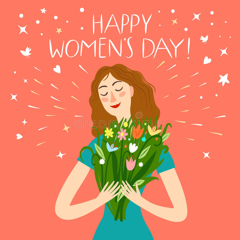 Muchacha feliz que lleva a cabo un boquet de flores libre illustration