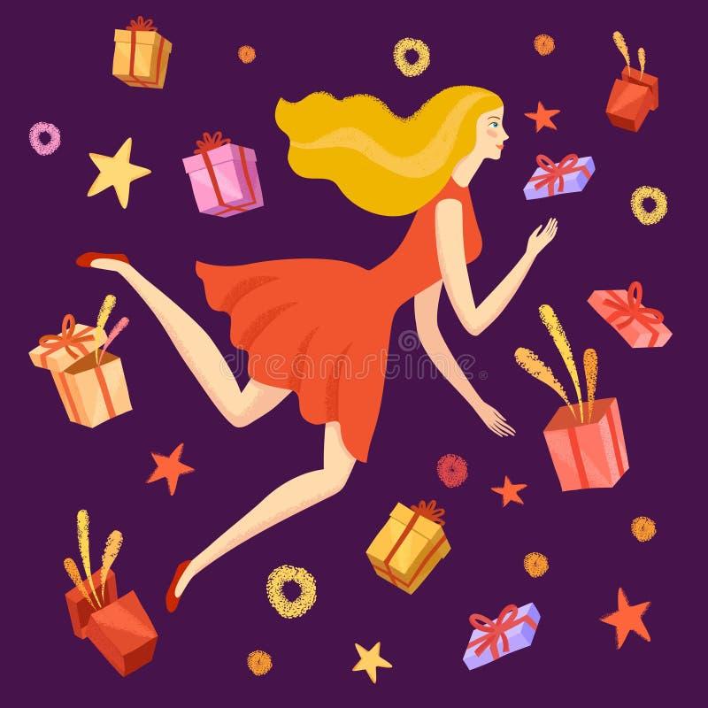 Muchacha feliz que salta con las cajas de regalo alrededor de ella stock de ilustración