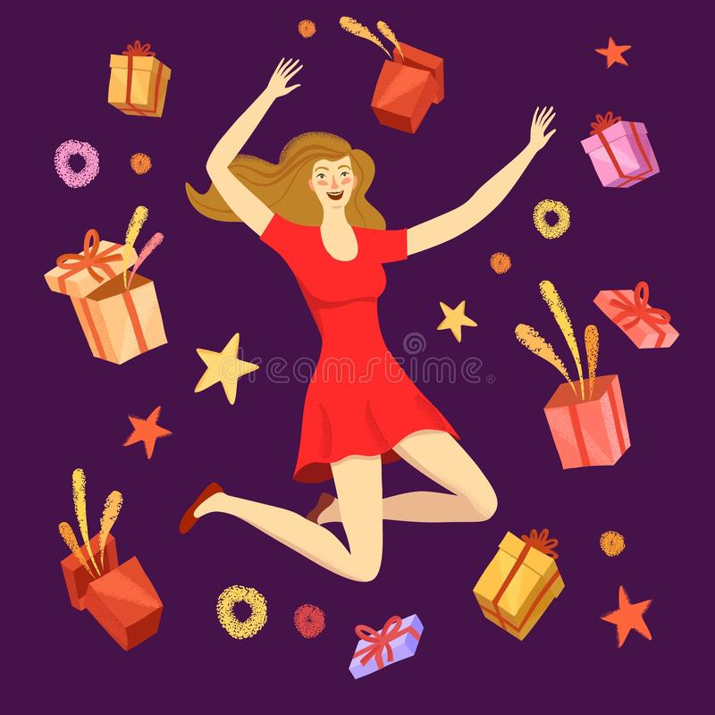 Muchacha feliz que salta con las cajas de regalo alrededor de ella libre illustration