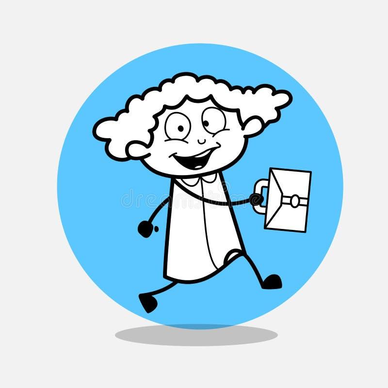 Muchacha feliz que va a la oficina libre illustration