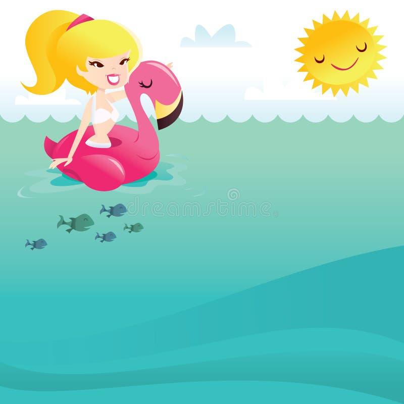 Muchacha feliz retra del bikini de la historieta en el flotador del flamenco en el mar ilustración del vector