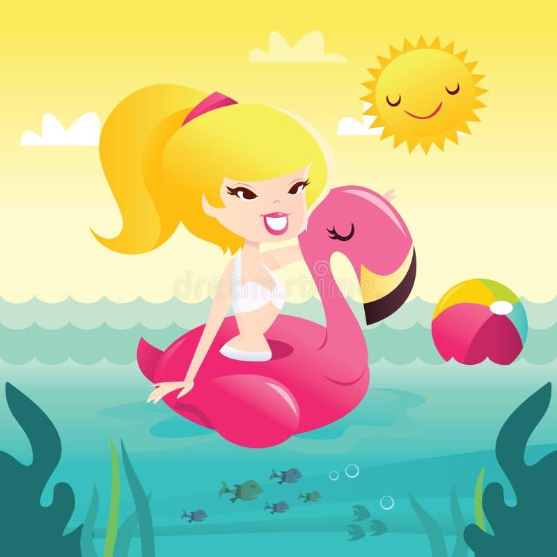 Muchacha feliz retra del bikini de la historieta en el flotador Sunny Day de la piscina del flamenco ilustración del vector