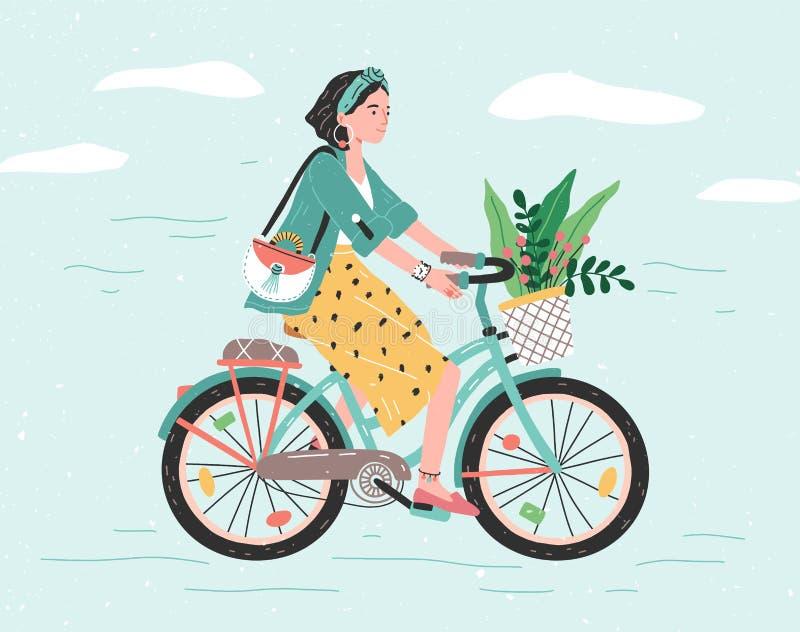 Muchacha feliz vestida en la ropa de moda que monta la bicicleta de la ciudad con el ramo de la flor en cesta delantera Inconform libre illustration
