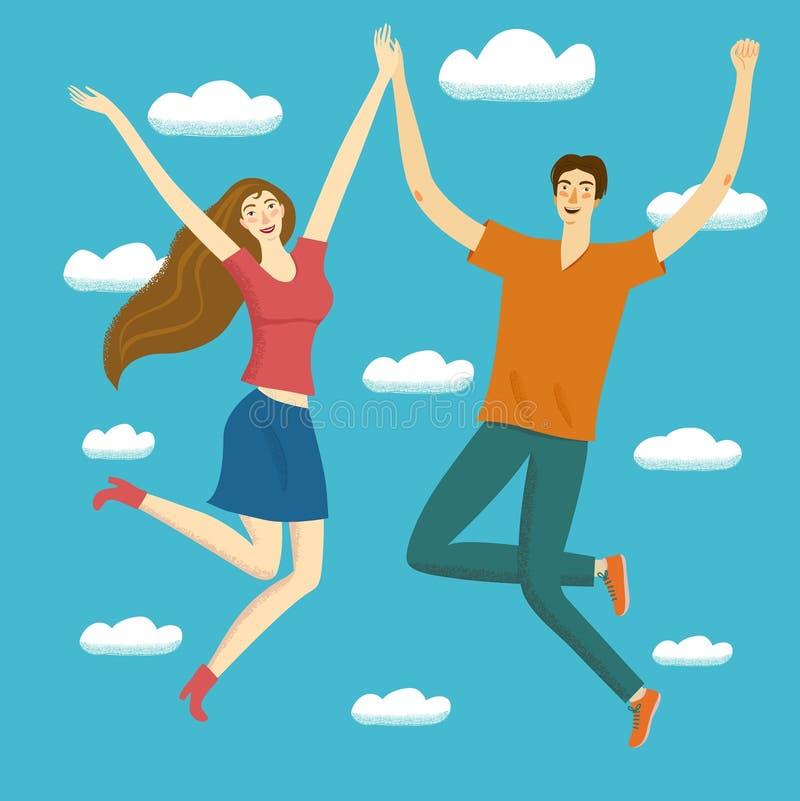 Muchacha feliz y muchacho que saltan junto en los cielos libre illustration
